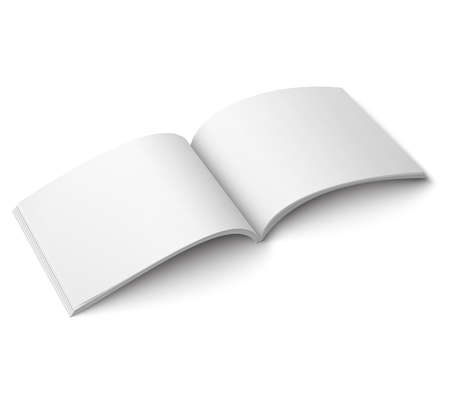 magazine design: Blank open magazine template on white background. Wide format. Vector illustration. Ready for your design.