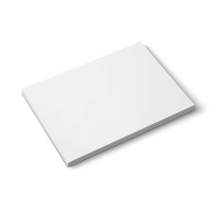 Blank template of thick closed magazine on white background. Wide format. illustration. Ready for your design.