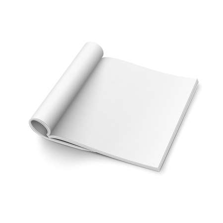 formats: Blank open magazine template with rolled pages on white background . Square format. Ready for your design. illustration.