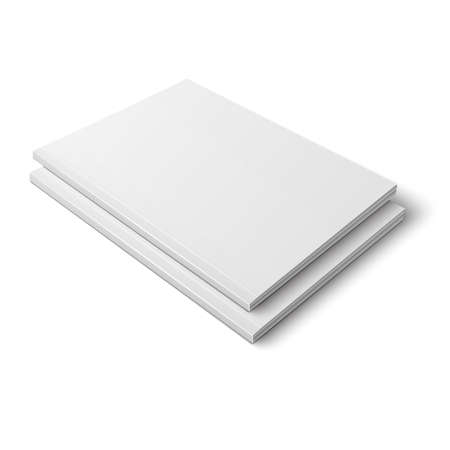 magazine stack: Pair of blank template of thick closed magazine on white background. illustration. Ready for your design. Illustration