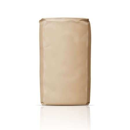 Puste brązowe papierowa torba na proszku, cukru lub mąki. ilustracji wektorowych.