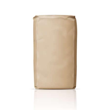 sacchetto di carta marrone bianco per la polvere, lo zucchero o farina. Illustrazione vettoriale.
