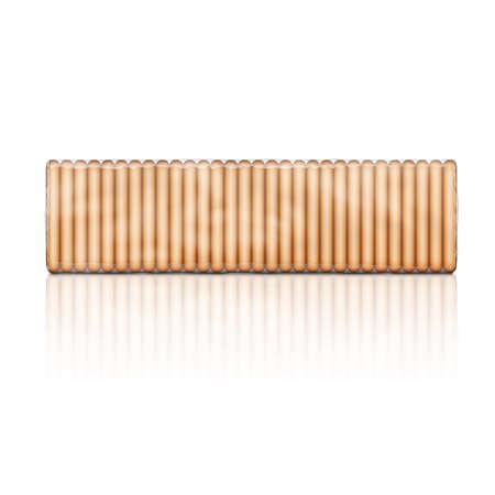 galletas: Paquete de galletas cuadradas, envuelto con plástico transparente, aislado en fondo blanco. Ilustración del vector. colección de paquetes. Vectores