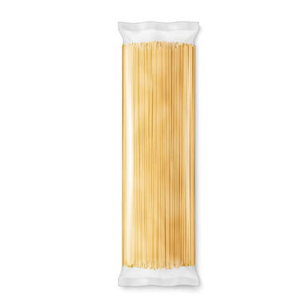 Spaghetti or capellini pasta transparent package, isolated on white background. Vector illustration.