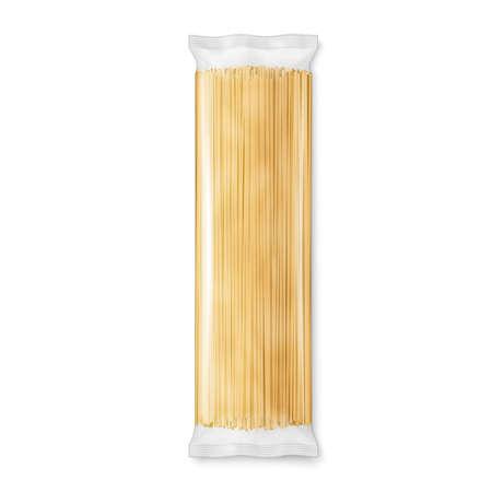 Spaghetti of capellini pasta transparant pakket, geïsoleerd op een witte achtergrond. Vector illustratie. Stock Illustratie