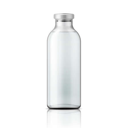 Template of empty tall transparent glass bottle with aluminium cap, filled with distilled water or salt solution. Packaging collection. Vector illustration. Vettoriali