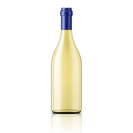 Transparent glass bottle template with white wine. Package collection. Vector illustration.