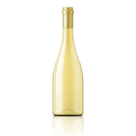 blanc: Glass bottle filled with white wine. Packaging collection.