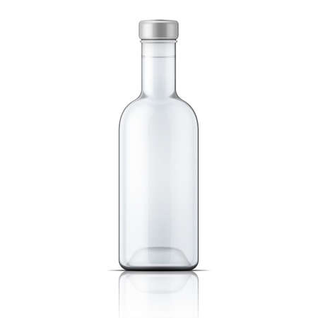 vodka: Glass vodka bottle with silver cap. Packaging collection Illustration