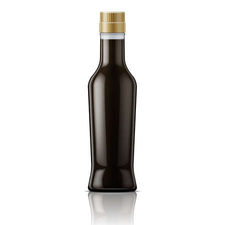 soy sauce: Glass bottle with soy sauce. Packaging collection.