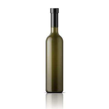 blanc: Tall glass bottle for wine. Packaging collection. Illustration