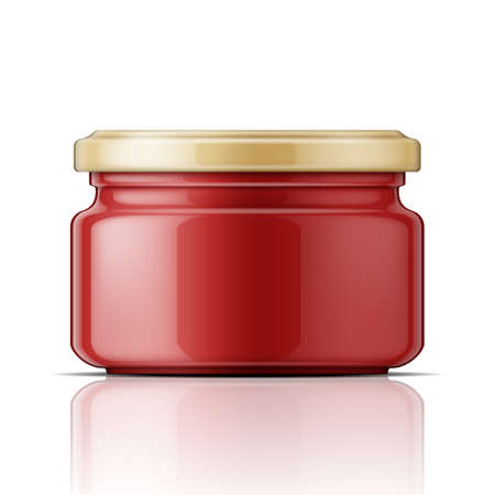 Glass jar with red tomato paste or sauce. Packaging collection. 일러스트