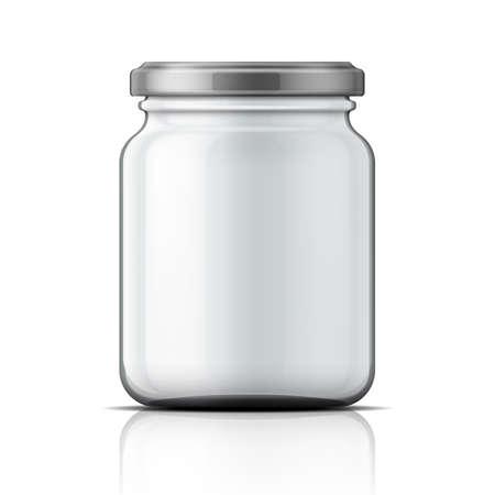 Empty transparent glass jar with screw cap. Ilustracja