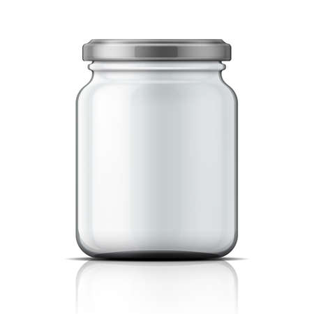 screws: Empty transparent glass jar with screw cap. Illustration