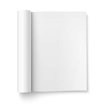 open magazine: Blank open magazine template with rolled pages on white background . Portrait orientation. Ready for your design.