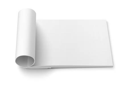 open magazine: Blank open magazine template with rolled pages on white background . Wide format. Ready for your design. Vector illustration.