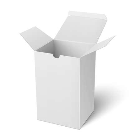 El papel en blanco o caja de cartón abierta Plantilla de la vertical de pie sobre fondo blanco Colección de envases. ilustración.