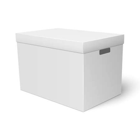 storage box: Blank paper or cardboard storage box template with closed lid on white background Packaging collection. illustration.