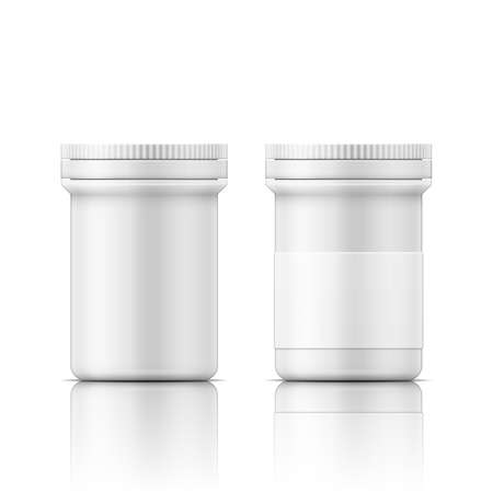 white pills: Template of white plastic bottle with cap for medicine, pills, tabs. Packaging collection.