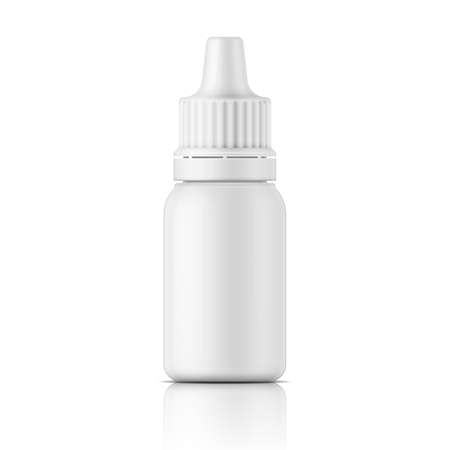 nasal drops: White plastic bottle template for medical or cosmetic fluid, eye drops, oil. Packaging collection.