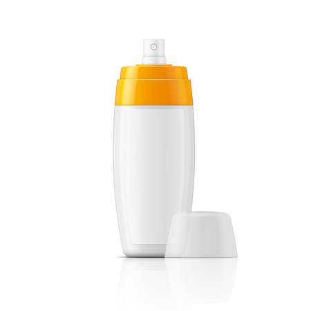 tanning: White plastic spray bottle template with blanc label for protection or tanning oil, lotion, body milk. Ready for your design. illustration. Illustration
