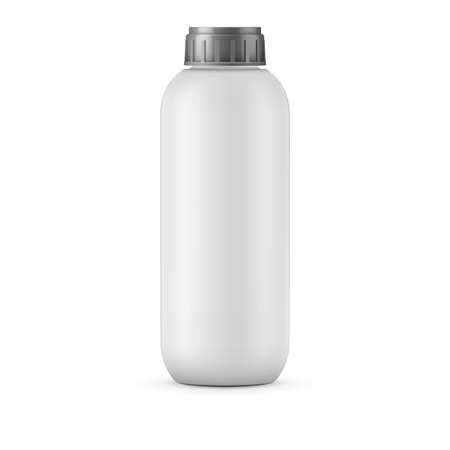 Big white plastic bottle template for shampoo, balm, shower gel, lotion, body milk, bath foam. Isolated on white background. Ready for your design. Realistic illustration.