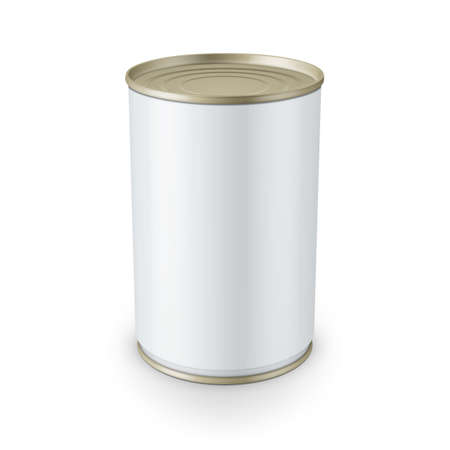hermetic: White glossy tin can isolated on white background Vector illustration. Packaging collection. Illustration