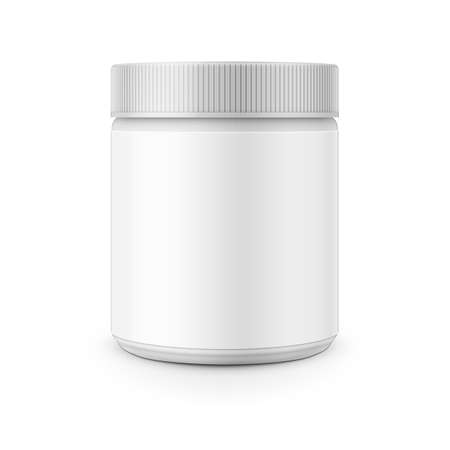 White plastic canister template for stain remover, washing powder, laundry detergent etc. Vector illustration. Packaging collection. Illustration
