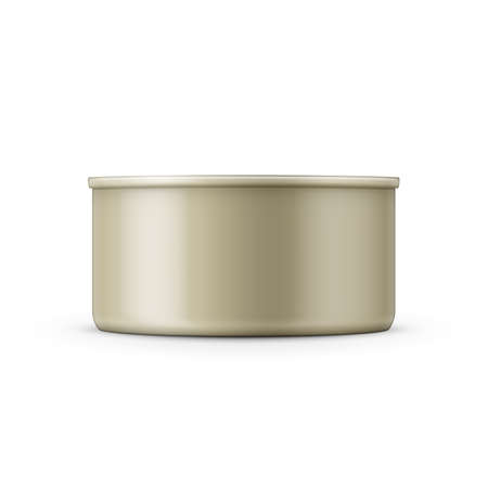 hermetic: Low-profile tin can on white background. Side view. Vector illustration. Packaging collection.