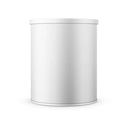 Witte blikje met plastic dop voor de baby melkpoeder, instant koffie, ontbijtgranen enz. Vector illustratie. Inzameling van verpakkingen. Vector Illustratie