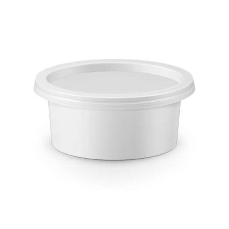 cream cheese: White plastic tub container for cream cheese, spread, margarine, butter, cottage cheese, isolated on white background. Packaging collection.