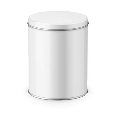 white sugar: Round white glossy tin can with lid. Container for dry products - tea, coffee, sugar, cereals, candy, spice. Realistic packaging vector mockup template. Eye-level shot. Illustration
