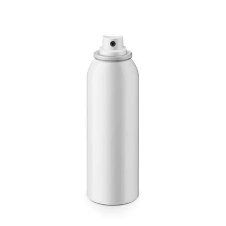 tin packaging: White glossy metal spray bottle without cap. Realistic packaging mockup template. Eye-level shot.
