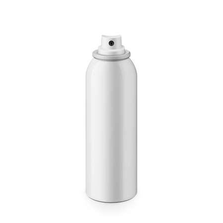 Wit glanzend metaal spray fles zonder dop. Realistische verpakking mockup template. Ooghoogte schot. Stock Illustratie
