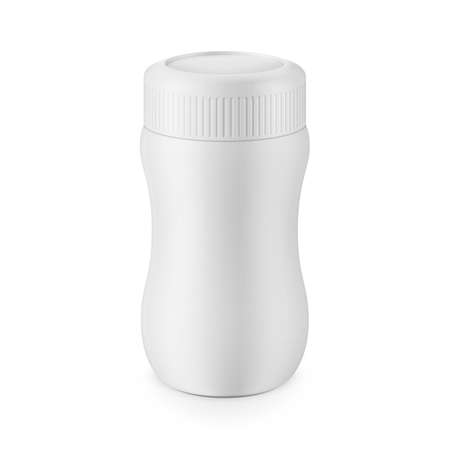 Round white matte plastic jar with ribbed lid for dry products - hot chocolate, cocoa, instant coffee. Realistic packaging mockup template. Eye-level view. Vector illustration.