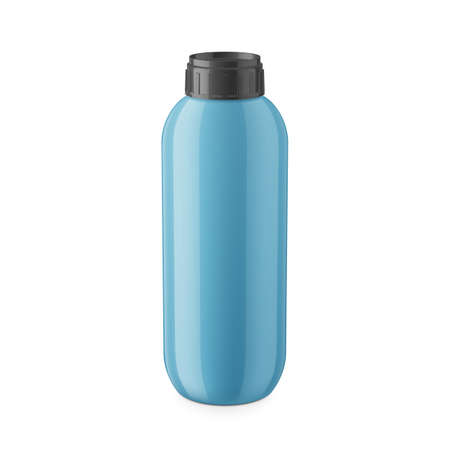 balm: Round blue glossy plastic bottle with black cap for shampoo, balm, shower gel, lotion, body milk, bath foam. Realistic packaging mockup template. Eye-level view. Vector illustration.