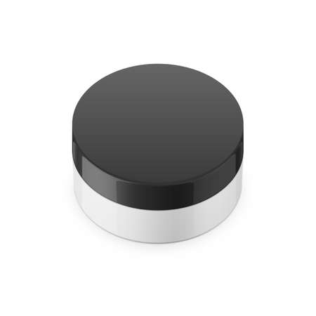 scrub: Round white glossy plastic jar with black lid for cosmetics - body cream, butter, scrub, bath salt, gel, skin care, powder. Realistic packaging mockup template. Upper view. Vector illustration. Illustration