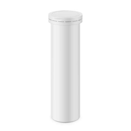 Round white glossy aluminum bottle with cap for effervescent or carbon tablets, pills, vitamins. Realistic packaging vector mockup template. Eye-level view. Ilustracja