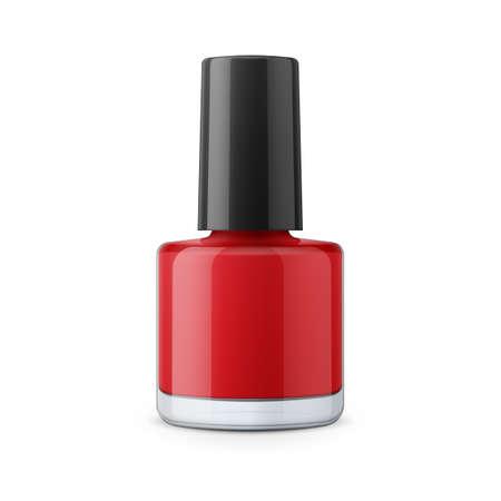 nail polish bottle: Round red glossy nail polish bottle