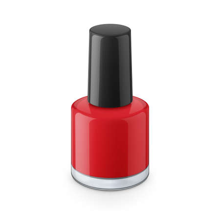 toenail: Round red glossy nail polish bottle