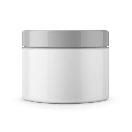 frasco: Round white glossy plastic jar for cosmetics