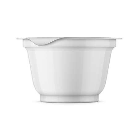 Blanc modèle yaourt en pot.