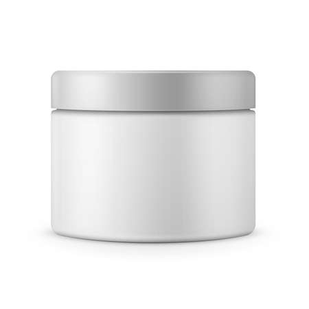 makeup products: Round white matte plastic jar for cosmetics Illustration