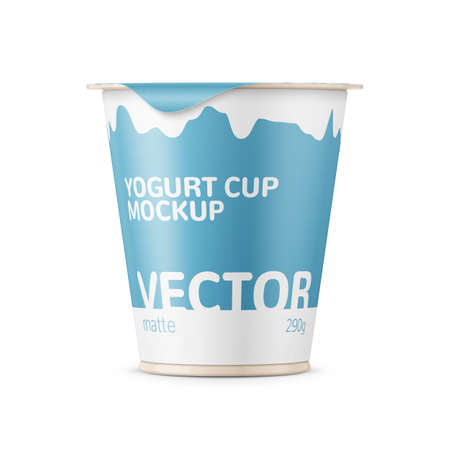 Round plastic pot with matte carton wrap and foil cover for dairy products, yogurt, cream, dessert. 290 g. Realistic packaging mockup template with sample design. Front view. Vector illustration. Фото со стока