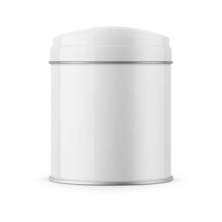 tin: Round glossy tin can template. Illustration