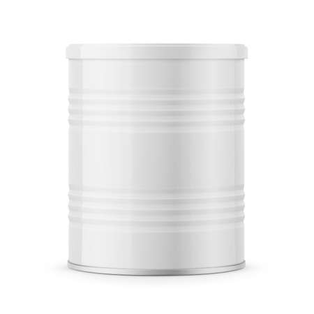 Round glossy tin can for powder milk. Vectores