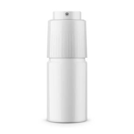 White glossy metal deodorant spray bottle.