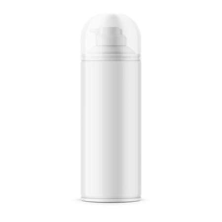 White glossy tin can for shaving foam. 矢量图像