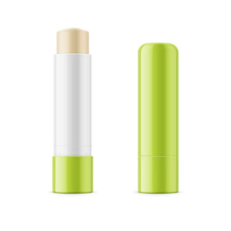 Green glossy lip balm stick. Stock Photo