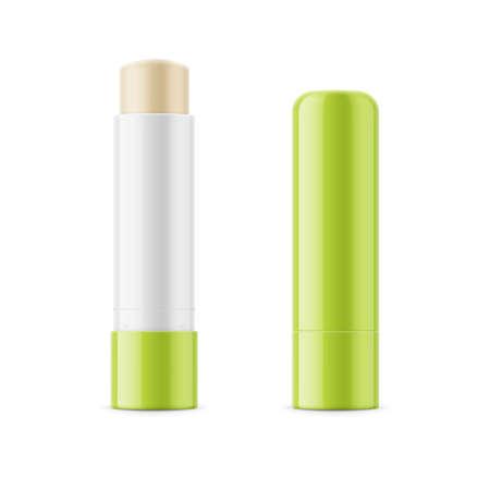 Green glossy lip balm stick. Foto de archivo
